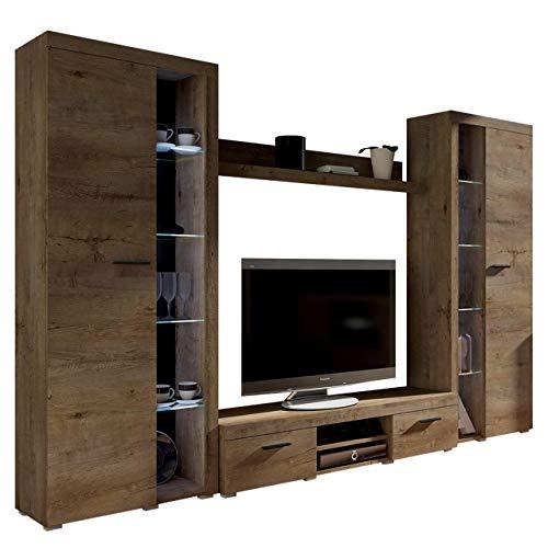Wohnwand Rango XL, Modernes Wohnzimmer Set, Design Anbauwand, Schrankwand, Mediawand, Vitrine, TV Lowboard, (Lefkas Eiche, mit weißer LED Beleuchtung)