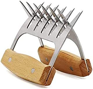 VSILE Meat Shredder Claws,Sharp Claws to Tear Pork Or Chicken,BBQ Stainless Steel Bear Claws with Wood Handle for Carving ...