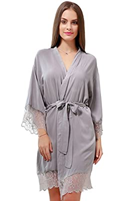 GoldOath Women's Kimono Robes Cotton Lightweight Robe Long Bathrobe Soft Sleepwear V-Neck Ladies Nightwear with Lace Trim Gray