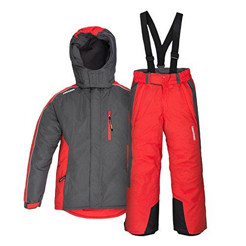 anndora Kinder Skianzug Gr. 128 Skijacke Grau Skihose Rot wasserabweisend