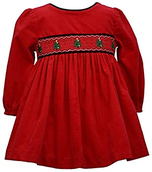 Bonnie Jean Baby Girl s Holiday Christmas Dress - Red Smocked Corduroy for Baby and Toddler and Little Girls 12 Months