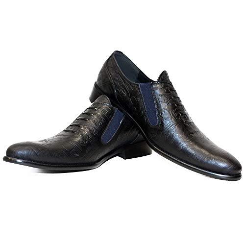 Modello Cretorro - EU 45 - US 12 - UK 11 - 30 cm - Handgemachtes Italienisch Bunte Herrenschuhe Lederschuhe Herren Schwarz Mokassins Müßiggänger und Slip-Ons - Rindsleder Geprägtes Leder - Schlüpfen