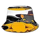 TTLUCKY Sombrero de Pesca,Ilustración de Gatito de Halloween acostado felizmente en,Senderismo para Hombres y Mujeres al Aire Libre Sombrero de Cubo Sombrero para el Sol
