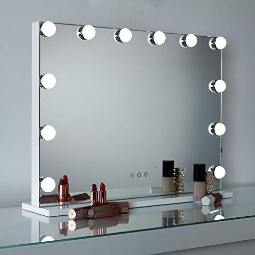 DAYU Hollywood Make-up Schminkspiegel mit 12 Beleuchtung LED Licht Beleuchteter Kosmetikspiegel mit Licht Spiegel mit USB für Wohnzimmer, Schlafzimmer, Make-up Kosmetikstudio