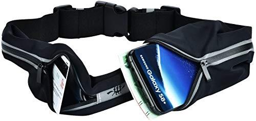 Ceinture de sport pour la course - Compatible avec 7 types de smartphones, l'iPhone, les Samsung Galaxy S5 et S6 - Pour le jogging, la randonnée, les voyages, l'escalade, noir