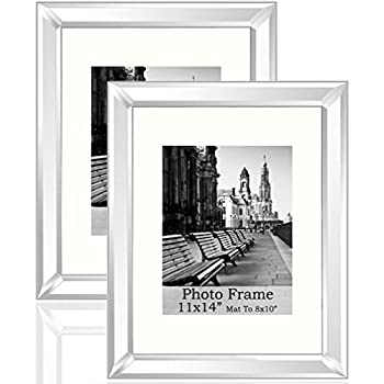 """Meetart Standard Flat 11x14 Inch or 8x10"""" Photo Silver Mirror Photo Frames Wall Hang Portrait Or Landscape for Wall Decor Upgrade with Better Pack"""