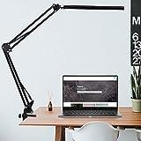 CNXUS Lámpara de escritorio LED, lámpara de arquitecto de brazo giratorio, lámpara de trabajo, lámpara de mesa de oficina con control táctil, protección para los ojos, negro