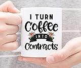 Taza de café | Convierto el café en contratos | Taza divertida | Taza del agente inmobiliario | Regalo para Agente de Bienes Raíces | Regalo de agente inmobiliario | Taza Agente hipotecario