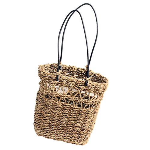 YARNOW Woven Bag Basket Tote Wicker Bag Rattan Woven Basket Garden Plant Container for Storage Picnic Beach