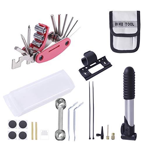 3-H Mini Bomba para Bicicleta, Kit de Herramientas, Herramienta Multifunción para Bicicleta con Kit de Parche y Palancas para Neumáticos, Kit de Herramientas para Reparación