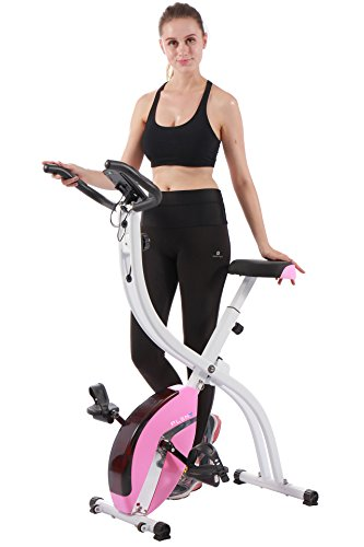 PLENY Foldable Upright Stationary Exercise Bike with 16 Level Resistance, New Exercise Monitor with Phone/Tablet Holder (Pink)