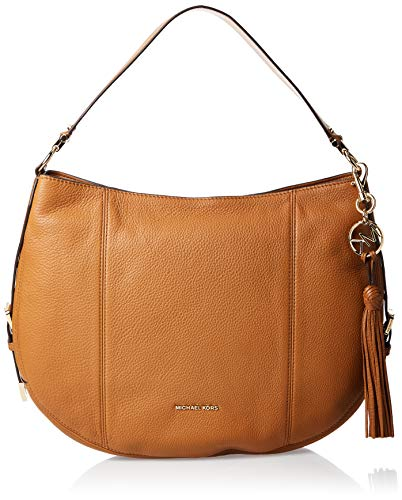 Soft and supple leather with polished gold hardware Measures approx. 15 inch x 11 inch x 5 inch; detachable MK signature brass logo & tassel on front Zipper top closure open to roomy interior Fully lined interior with MK satin fabric lining; multifun...