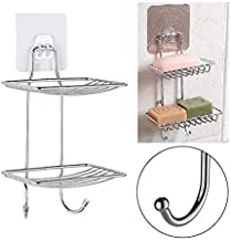 ADTALA Double Layer Soap Dish Storage Organizer Holder and Stainless Steel Hook Self-Adhesive Stainless Steel Waterproof Kitchen Bathroom Soaps Storage Rack with Hook for Home(Silver, 14 x 25 cm)