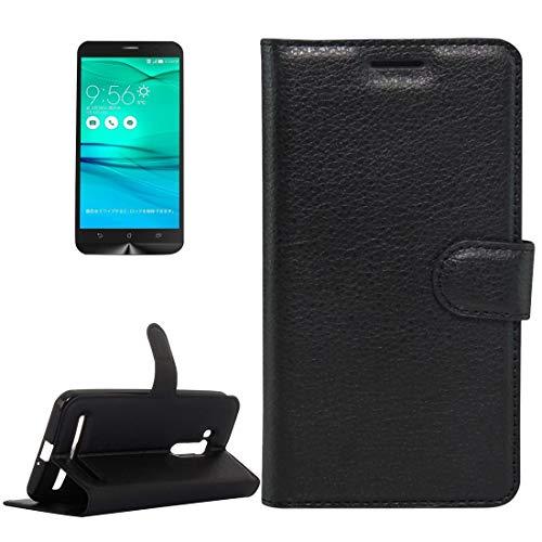 SHUFEIVICC - Funda de piel auténtica con tapa horizontal para ASUS Zenfone Go TV / ZB551KL Litchi texturizada con soporte, ranuras para tarjetas y cartera, color negro