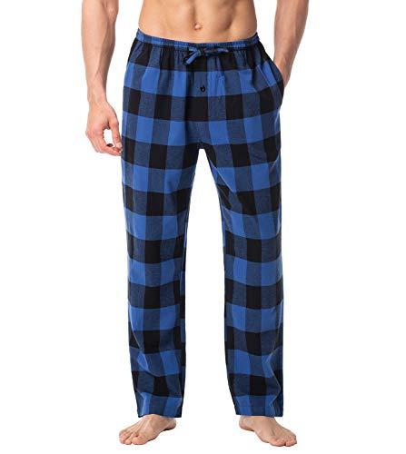 LAPASA Herren Schlafanzughose Kariert Hose Lang Baumwolle Pyjamahose Nachtwäsche M38 & M39