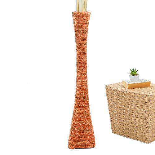 Leewadee jarrón Grande para el Suelo – Florero Alto y Hecho a Mano de bambú y Rafia, Recipiente de pie para Ramas Decorativas, 90 cm, Naranjo