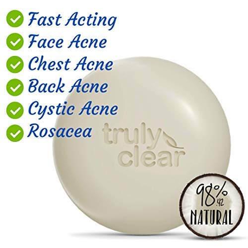 TRULY CLEAR One-Step Solution Acne Bar, Alcohol Free Face and Body Cleanser, Non-Drying Acne Treatment for Face, Chest, Butt and Back Acne, Body Acne Face Wash with Hyaluronic Acid