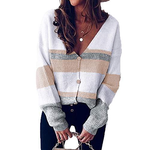A/N Herbst Und Winter V-Neck Button Stripe Stitching Sweater Cardigan
