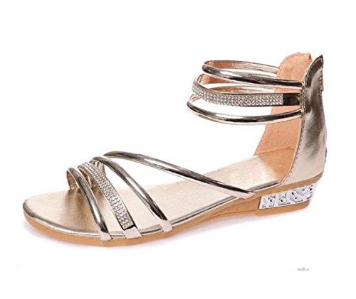 YC Sexy - Sandalias de tacón bajo para mujer, cómodas, doradas, plateadas, con purpurina, para verano, para mujer