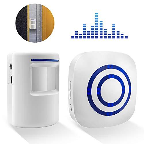 BeiLan Timbre inalámbrico con 1 receptor electrónico y 1 detector de sensor de movimiento PIR 3 niveles de volumen con 38 melodías Alarma de seguridad para visitantes en la oficina del hotel