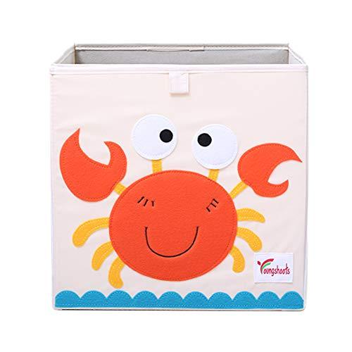 Hihey textiel vouwdoos, speelbox, diermotieven, kikker, AFFE uil koe opbergen, kist voor speelgoed, opvouwbaar