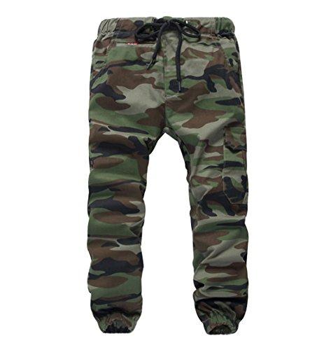 YoungSoul Hosen für Jungen - Jogginghose mit Bündchen und Military-Muster - Cargohose mit Kordel-Taille Armeegrün(Regular Fit) 152-164