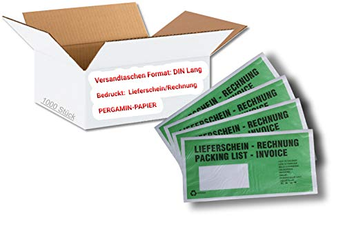 1 caja = 1.000 unidades de papel pergamino, bolsas para documentos o envíos – DIN largo – Color: verde – impreso: baraja de envío/factura