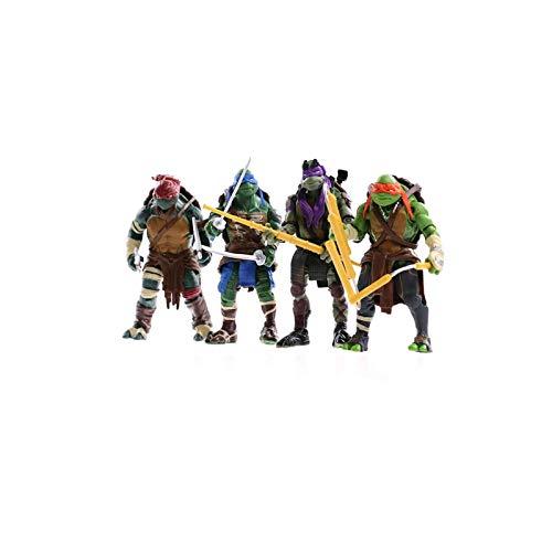 JGUSVYT Figuras de Tortugas Ninja Mutantes Adolescentes Juego de 4 Piezas Modelo de Personaje Animado Figuras de Acción Juguete para Niños 5.9 Pulgadas