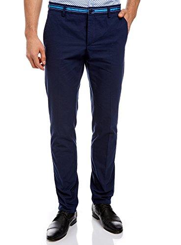 oodji Ultra Hombre Pantalones de Algodón con Decoración en Contraste en la Cintura