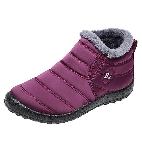 Yowablo Stiefel Damen Schwarz Boots Damen Leder Overknee Stiefel Rot Stiefeletten Damen Braun Overknee Stiefel Weiter Schaft Overknee Stiefel Flach Stiefel Damen Braun (41 EU,Damen-Wein)