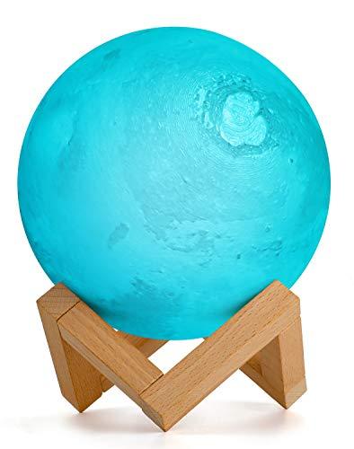 15cm Marte Planet Lámpara, AMZJUPWM 3D Impresión 16 Colores con Soporte, Control Táctil y Luz Nocturna Portátil USB Recargable para Decoración del Hogar y Regalos para Niños, Amigos, Amantes (Marte)