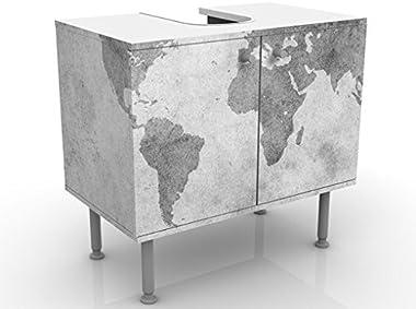 Mobile per lavabo design Vintage Worldmap II 60x55x35cm, basso, Larghezza: 60cm, regolabile, mobiletto da lavandino, lavandin
