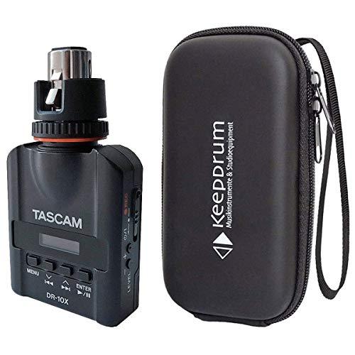 Tascam DR-10X - Grabadora de audio con micrófono y funda blanda