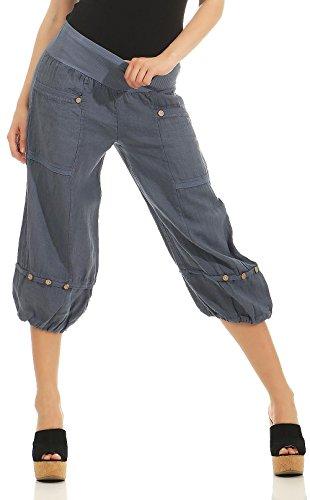Malito Mujer Pantalones de Lino Pantalones de Ocio Pantalones Bombachos Basic 1575 (Azul, XL)