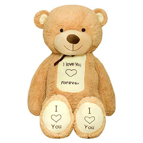 TEDBI Teddybär 160cm | Farbe Hellbraun | Groß Teddy Bear Plüschbär Stofftier Kuscheltier Plüschtier XXL Herz Teddi Bär mit Stickerei I Love You Forever Ich Liebe Dich für Immer