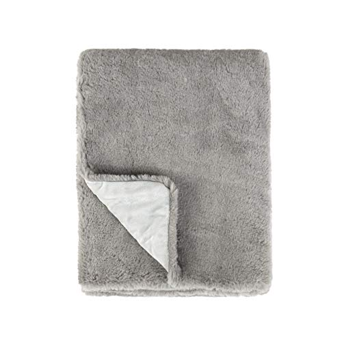 Tadpoles Super Soft Double Layer Faux Fur Plush Baby Blanket, 30'x40', Grey