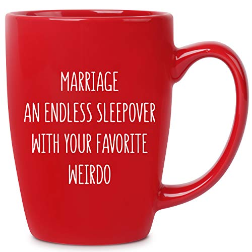 Marriage an Endless Sleepover - 14 oz Red Bistro Coffee Mug - Best Gift Ideas for Wife Husband...