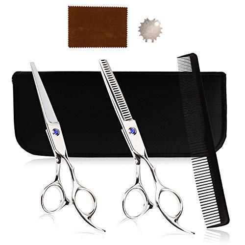 Redmoo Haarschere Set, 2 Stück Zahnschere und Flachschere, Rostfreie Friseurschere Mit Etui und Kamm, Haarschneideschere Set Perfekter für Damen und Herren