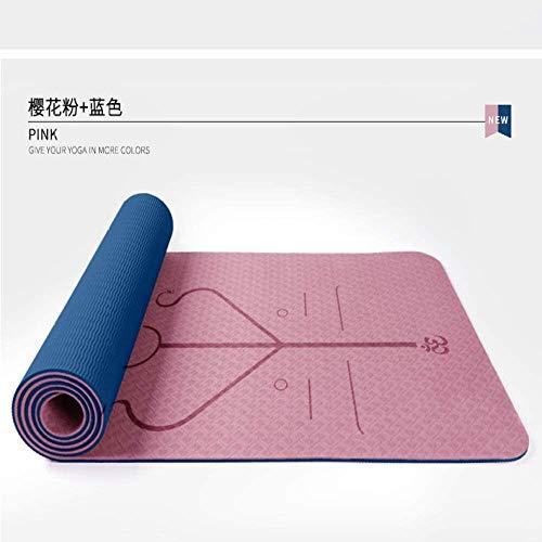 QZ 147258 Classic Professionale Eco Friendly Uomini e Donne Tappetino Yoga TPE Antiscivolo Ispessimento Yoga, Pilates e Ginnastica 183 x 61 x 0.6CM, Dimensione: 183x61x0.6CM, Colore: Rosa Chiaro