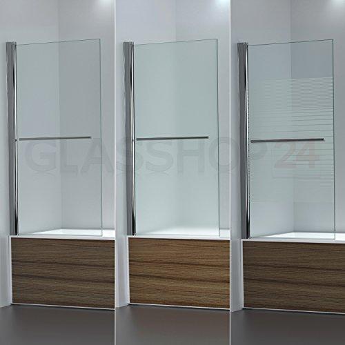 glasshop24 Badewannen Duschabtrennung | 950x1400mm | Klarglas | DW1