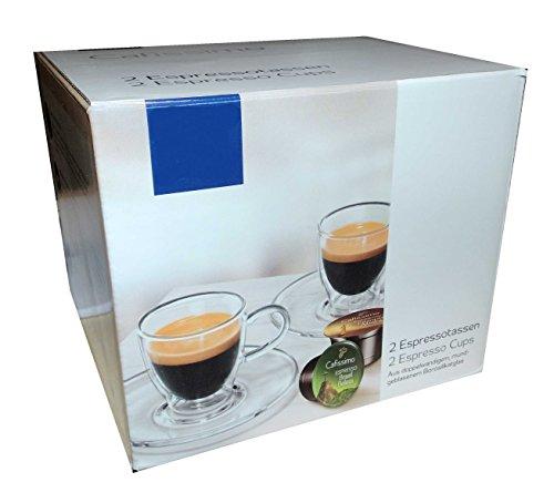 Tchibo 2 Cafissimo Espressotassen mit Unterteller Doppelwandig
