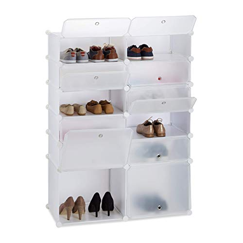 Relaxdays, weiß Schuhregal Kunststoff, DIY Regalsystem 12 Fächer, XXL Steckregal, mit Türen, H x B x T: 125 x 94 x 37 cm, Standard