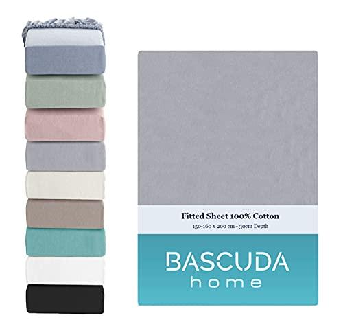 Bascuda Luxus-Spannbettlaken 160x200cm Boxspringbett – 100% Baumwolle-Jersey-Bettlaken, Weich, pflegeleicht, knitterfrei und atmungsaktiv – 9 Farben – Spannbetttücher für Matratze 160x200 cm