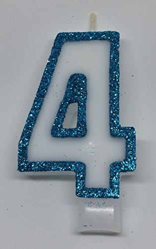 Wasiwax No (4) Birthday Candle - Frozen Blue Glitter - Browse Our Store and Choose Other Numbers