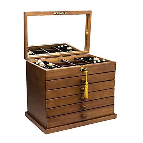 LJJ Caja de joyas de madera maciza de seis capas, cerradura completa con depósito de joyas antiguo con espejo para collares, anillos, pendientes, pulseras