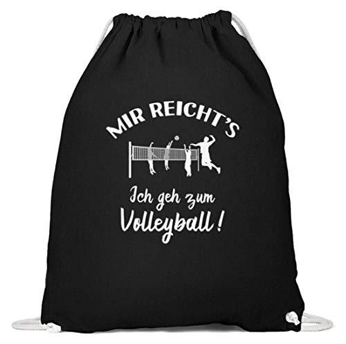 shirt-o-magic Beach-Volleyball: Ich geh zum Volleyball! - Baumwoll Gymsac -37cm-46cm-Schwarz