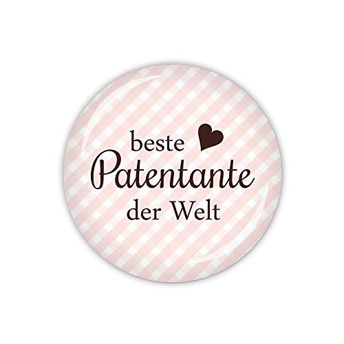 lijelove® Vichy rosa, Beste Patentante der Welt (Art. TA01-05) als Button, Magnet, Taschenspiegel und Flaschenöffner erhältlich (Taschenspiegel 59mm Ø)