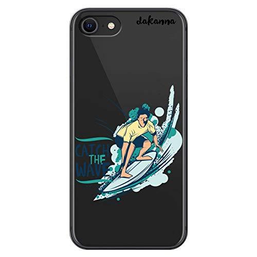 dakanna Funda para [ iPhone SE 2020 ] de Silicona Flexible, Dibujo Diseño [ Chico con Tabla de Surf y Frase Catch Wave ], Color [Fondo Transparente] Carcasa Case Cover de Gel TPU para Smartphone