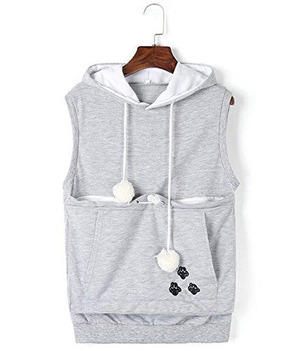 Price comparison product image Pet Holder Sleeveless Hooded Kangaroo Pouch Dog Carriers Pullover Cat Eared Hoodies Tank Tops, B-gray, X-Large