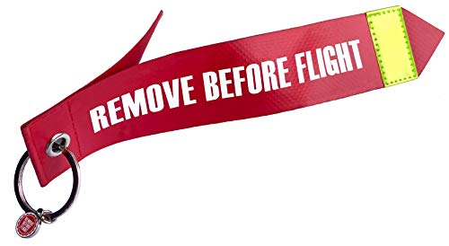 REMOVE BEFORE FLIGHT Matériau aéronautique d'origine - 1 pendentif - Grand format.